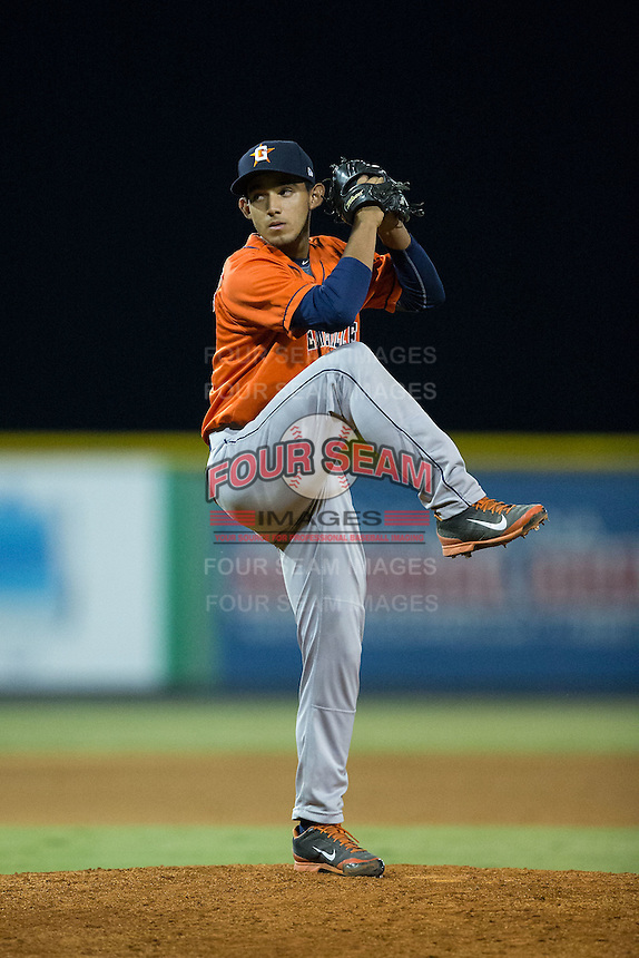 Greeneville Astros relief pitcher Luis Ramirez (4) in action against the Burlington Royals at Burlington Athletic Park on August 29, 2015 in Burlington, North Carolina.  The Royals defeated the Astros 3-1. (Brian Westerholt/Four Seam Images)