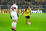 09.03.2019, Signal Iduna Park, Dortmund, GER, 1.FBL, Borussia Dortmund vs VfB Stuttgart, DFL REGULATIONS PROHIBIT ANY USE OF PHOTOGRAPHS AS IMAGE SEQUENCES AND/OR QUASI-VIDEO<br /> <br /> im Bild   picture shows:<br /> Mario Goetze (Borussia Dortmund #10) mit Emiliano Insua (VfB Stuttgart #2), <br /> <br /> Foto &copy; nordphoto / Rauch