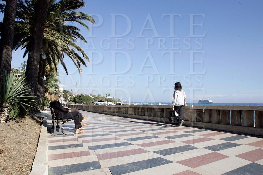 Veduta del Lungomare di Corso Imperatrice a Sanremo.<br /> Corso Imperatrice in Sanremo.<br /> UPDATE IMAGES PRESS/Riccardo De Luca