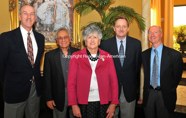 WATERBURY, CT-03 APRIL 2009 --040309JS11--School Board Members Ron Diorio, Charlie J. Marine, Board President Deborah Cronin, Rich Gurszka and school Principal Joseph Kenny at the Bells of Saint Mary Award dinner Thursday, April 2, at the Ponte Club in Waterbury.<br /> Jim Shannon Republican-American