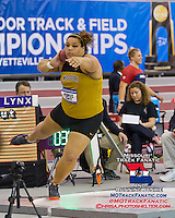 Missouri redshirt sophomore Kearsten Peoples spins in the ring on her way to a 9th place finish in the shot put at the 2013 NCAA Division I Indoor Track and Field Championships, Saturday, March 9, 2013, in Fayetteville, Ar. Peoples best toss measured 54-10.25, leaving her one spot and 11 inches out of a top-eight trophy finish, in what Coach Brett Halter called the best and deepest competition ever in the event at the annual meet.