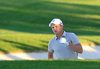 Danny Willett (ENG) Team Europe plays his 2nd shot from a fairway bunker on the 18th hole during Saturday Afternoon Fourball Matches of the 41st Ryder Cup, held at Hazeltine National Golf Club, Chaska, Minnesota, USA. 1st October 2016.<br /> Picture: Eoin Clarke | Golffile<br /> <br /> <br /> All photos usage must carry mandatory copyright credit (&copy; Golffile | Eoin Clarke)