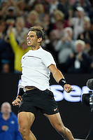 Men's QF / Rafael Nadal (ESP) defeats Milos Raonic (CAN) in straight sets today.<br /> 2017 Australian Open Tennis<br /> Grand Slam of Asia Pacific<br /> Melbourne Park, Rod Laver Arena<br /> Victoria Australia Weds 25th Jan 2017<br /> &copy; Sport the library / Jeff Crow