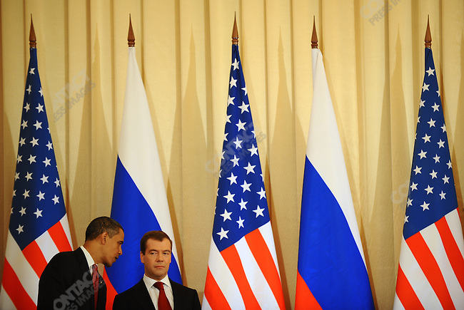 President Obama and President Medvedev exchanged a word as they waited for ministers to come to the podium to sign an agreement at the Kremlin in Moscow, Russia. July 6, 2009