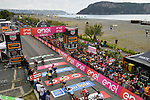 Sam Bennett (IRL) Bora-Hansgrohe outsprints Maglia Ciclamino Elia Viviani (ITA) Quick-Step Floors to win Stage 7 of the 2018 Giro d'Italia, a flat stage running 159km from Pizzo to Praia a Mare, Italy. 11th May 2018.<br /> Picture: LaPresse/Marco Alpozzi | Cyclefile<br /> <br /> <br /> All photos usage must carry mandatory copyright credit (&copy; Cyclefile | LaPresse/Marco Alpozzi)