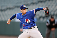 Round Rock Express starting pitcher Neil Ramirez #54 delivers a pitch during a game versus the Memphis Redbirds at Autozone Park on April 29, 2011 in Memphis, Tennessee.  Round Rock defeated Memphis by the score of 5-4 in 13 innings.  Photo By Mike Janes/Four Seam Images