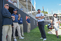 Graeme McDowell (NIR) and Shane Lowry (IRL) wait for Vaughn Taylor (USA) to putt before departing 18 during round 2 of the Arnold Palmer Invitational at Bay Hill Golf Club, Bay Hill, Florida. 3/8/2019.<br /> Picture: Golffile | Ken Murray<br /> <br /> <br /> All photo usage must carry mandatory copyright credit (&copy; Golffile | Ken Murray)