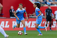 Bridgeview, IL - Sunday June 25, 2017: Sofia Huerta, Christen Press during a regular season National Women's Soccer League (NWSL) match between the Chicago Red Stars and Sky Blue FC at Toyota Park. The Red Stars won 2-1.