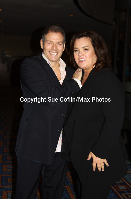 """Days of Our Lives Kevin Spirtas poses with All My Children's Rosie O'Donnell """"Naomi - The Maid"""" hosted Rosie's Building Dreams for Kids Gala benefitting Rosie's Theater Kids on September 19, 2011 at New York Marriott Marquis, New York City, New York. (Photo by Sue Coflin/Max Photos)"""