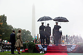 United States President Barack Obama and President Lee Myung-bak of the Republic of Korea participate in the State Arrival Ceremony on the South Lawn of the White House, October 13, 2011. .Mandatory Credit: Pete Souza - White House via CNP