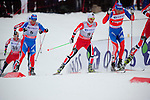 HOLMENKOLLEN, OSLO, NORWAY - March 16: (L-R) Ilia Chernousov of Russia (RUS), Martin Johnsrud Sundby of Norway (NOR) and Alexander Legkov of Russia (RUS) during the Men 50 km mass start, free technique, at the FIS Cross Country World Cup on March 16, 2013 in Oslo, Norway. (Photo by Dirk Markgraf)