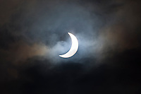 09.46 March 2015 Solar eclipse, partial eclipse of the sun, rare natural phenomenon seen from Burford, The Cotswolds, England UK