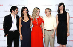 """Actors Chris Messina, Penelope Cruz, Scarlett Johannson, Director Woody Allen and actor Rebecca Hall arrive at The Los Angeles Premiere of """"Vicky Cristina Barcelona"""" at the Mann Village Theatre on August 4, 2008 in Westwood, California."""