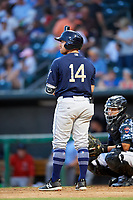 Mobile BayBears right fielder Zach Gibbons (14) at bat in front of catcher Rodrigo Vigil (6) during a game against the Jacksonville Jumbo Shrimp on April 14, 2018 at Baseball Grounds of Jacksonville in Jacksonville, Florida.  Mobile defeated Jacksonville 13-3.  (Mike Janes/Four Seam Images)