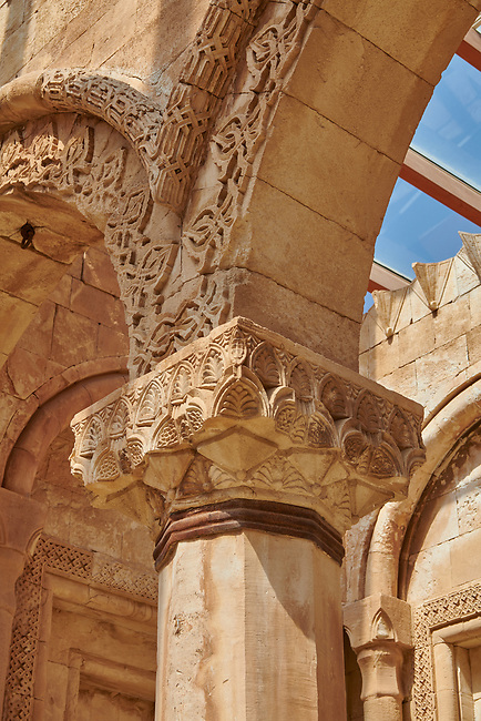 Pillar capital close up of  the 18th Century Ottoman Hareem of the Ishak Pasha Palace (Turkish: İshak Paşa Sarayı) ,  Agrı province of eastern Turkey.