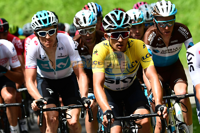 The peleton including race leader Michal Kwiatkwoski (POL) Team Sky in action during Stage 4 of the 2018 Criterium du Dauphine 2018 running 181km from Chazey sur Ain to Lans en Vercors, France. 7th June 2018.<br /> Picture: ASO/Alex Broadway | Cyclefile<br /> <br /> <br /> All photos usage must carry mandatory copyright credit (© Cyclefile | ASO/Alex Broadway)