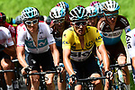 The peleton including race leader Michal Kwiatkwoski (POL) Team Sky in action during Stage 4 of the 2018 Criterium du Dauphine 2018 running 181km from Chazey sur Ain to Lans en Vercors, France. 7th June 2018.<br /> Picture: ASO/Alex Broadway | Cyclefile<br /> <br /> <br /> All photos usage must carry mandatory copyright credit (&copy; Cyclefile | ASO/Alex Broadway)