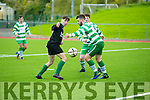 In Action Fenit's Conor Lowe and Celtic's Harnett  at the Jimmy Falvey Memorial Cup Final against Killarney Celtic at Mounthawk Park on Sunday