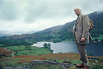 Alfred Wainwright in the Lake District, Cumbria, England. Circa 1970 Lake Rydalwater