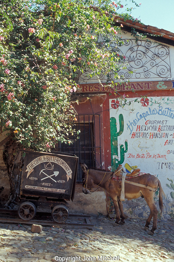 Burro and old mining cart beside the Copala Butter Company restaurant and hotel in the Spanish colonial mining town of Copala near Mazatlan, Sinaloa, Mexico