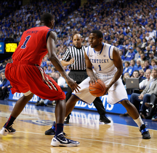 Senior guard Darius Miller during the first half of the game against the University of Mississippi in Lexington, Ky., on Saturday, Feb. 18, 2012. Photo by Tessa Lighty | Staff