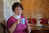 Pictured: Heather Hatton in her house Wednesday 15 February 2017<br /> Re: John and Heather Hatton, expat couple in Greece who are unable to sell their house in the village of Vamos, Chania, Crete to return to the UK because their neighbour won't pay his taxes.<br /> Heather Hatton needs to return to the UK for urgent medical care.