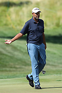 Bethesda, MD - July 1, 2017:  Arjun Atwal reacts after missing his putt during Round 3 of professional play at the Quicken Loans National Tournament at TPC Potomac in Bethesda, MD, July 1, 2017.  (Photo by Elliott Brown/Media Images International)