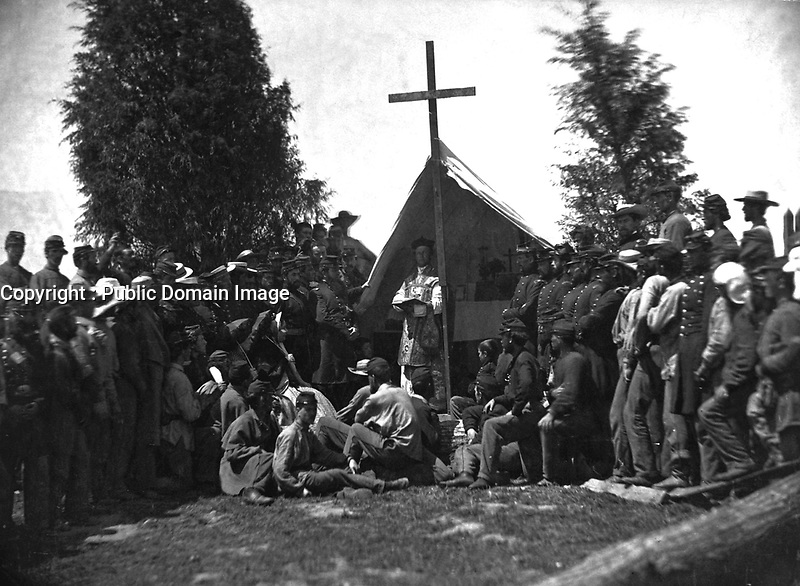Religious services in camp, Catholic.  Probably 69th New York State Militia.  Mathew Brady Collection.  (War Dept.)<br /> Exact Date Shot Unknown<br /> NARA FILE #:  165-C-100<br /> WAR & CONFLICT BOOK #:  221