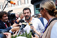 Rome September 9th 2019. Matteo Salvini speaking to the press after his speech during the demonstration against the Government outside the Chamber of Deputies.<br /> Foto  Samantha Zucchi Insidefoto