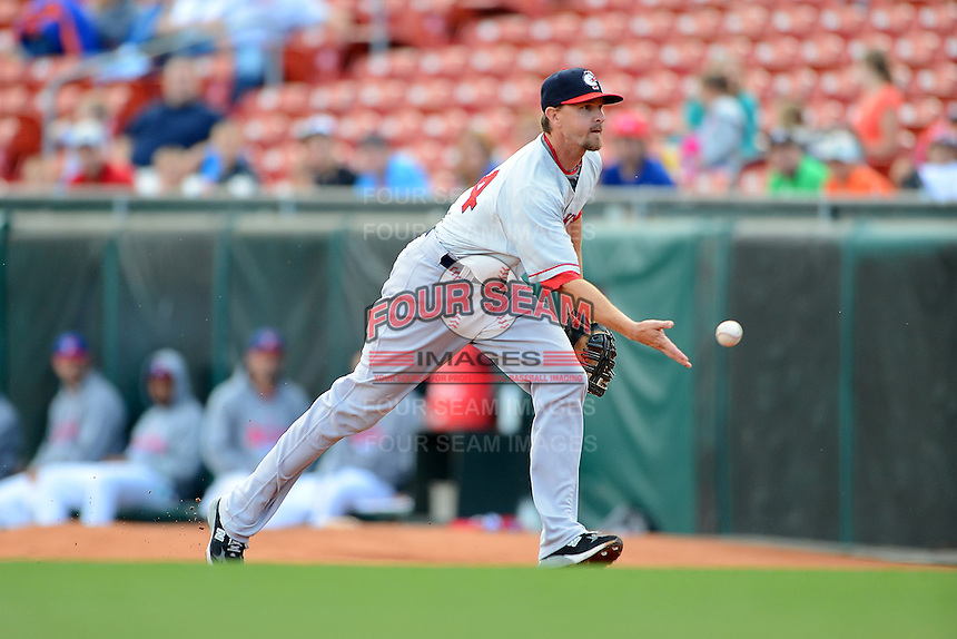 Pawtucket Red Sox first baseman Drew Sutton (44) during a game against the Buffalo Bisons on August 4, 2013 at Coca-Cola Field in Buffalo, New York.  Pawtucket defeated Buffalo 8-1.  (Mike Janes/Four Seam Images)