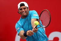 BOGOTA - COLOMBIA - 2-07-2015: Malek Jaziri de Tunez en accion contra el norteamericano Austin Krajicek durante el Torneo Claro Open Colombia World Tour 250  que se juega en las canchas del Centro de Alto Rendimiento de la capital ./ Malek Jaziri of Tunisia in action against Austin Krajicek of USA during the Open World Tour 250 tournament course that is played on the courts of the Centro de Alto Rendimiento in the capital .  Photo: VizzorImage / Felipe Caicedo / Staff.