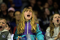 Fans cheer during the National Basketball League match between Cigna Wellington Saints and Canterbury Rams at TSB Bank Arena in Wellington, New Zealand on Sunday, 23 June 2019. Photo: Dave Lintott / lintottphoto.co.nz