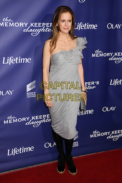 "KELLY PRESTON .""The Memory Keeper's Daughter"" Los Angeles Premiere at the Cinerama Dome, Hollywood, California, USA,.8 April 2008..full length grey gray one shoulder dress black tights shoes .CAP/ADM/BP.©Byron Purvis/Admedia/Capital PIctures"