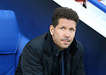 Atletico's Diego Simeone looks on during the Champions League Quarter-Final 2nd leg match at the King Power Stadium, Leicester. Picture date: April 18th, 2017. Pic credit should read: David Klein/Sportimage