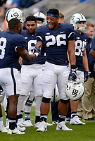 STATE COLLEGE, PA - SEPTEMBER 30:  Penn State RB Saquon Barkley (26) smiles during warm ups. The Penn State Nittany Lions defeated the Indiana Hoosiers 45-14 on September 2, 2017 at Beaver Stadium in State College, PA. (Photo by Randy Litzinger/Icon Sportswire)