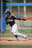GCL Marlins outfielder Jhonny Santos (9) at bat during the first game of a doubleheader against the GCL Mets on July 24, 2015 at the St. Lucie Sports Complex in St. Lucie, Florida.  GCL Marlins defeated the GCL Mets 5-4.  (Mike Janes/Four Seam Images)