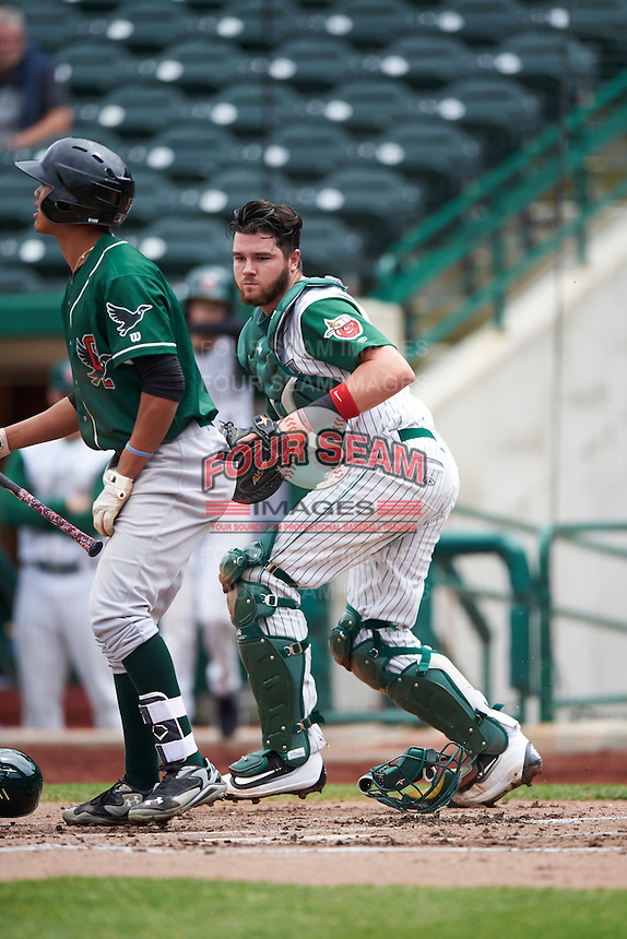 Fort Wayne TinCaps catcher Austin Allen (23) looks to tag Ariel Sandoval to complete the strike out during the second game of a doubleheader against the Great Lakes Loons on May 11, 2016 at Parkview Field in Fort Wayne, Indiana.  Great Lakes defeated Fort Wayne 5-0.  (Mike Janes/Four Seam Images)