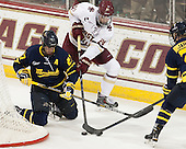 Justin Mansfield (Merrimack - 27), Zach Sanford (BC - 24), Clayton Jardine (Merrimack - 21) - The Boston College Eagles defeated the visiting Merrimack College Warriors 2-1 on Wednesday, January 21, 2015, at Kelley Rink in Conte Forum in Chestnut Hill, Massachusetts.
