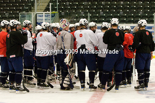 The US practiced the morning of Sunday, April 19, 2009, prior to their gold medal game against Russia in the 2009 World Under 18 Championship at the Urban Plains Center in Fargo, North Dakota.