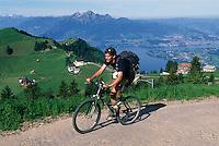 Radler auf dem Rigi, Blick auf Vierwaldstaetter See, Schweiz