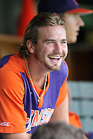 Sophomore outfielder Reed Rohlman (26) (Byrnes High School) of the Clemson Tigers in a fall practice intra-squad Orange-Purple scrimmage on Saturday, September 26, 2015, at Doug Kingsmore Stadium in Clemson, South Carolina. (Tom Priddy/Four Seam Images)
