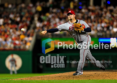 3 July 2009: Atlanta Braves relief pitcher Peter Moylan in action against the Washington Nationals at Nationals Park in Washington, DC. The Braves defeated the Nationals 9-8 to take the first game of the 3-game weekend series. Mandatory Credit: Ed Wolfstein Photo