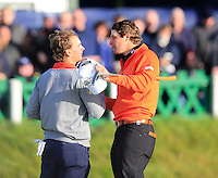 Joost Luiten (NED) and Peter Uihlein (USA) during the final round of the Alfred Dunhill links Championship Old Course, St Andrews, Fife, Scotland.<br /> Picture Fran Caffrey www.golffile.ie