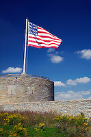 Round Tower and US flag flying at Fort Snelling Historic Site, Hennepin County, Minnesota