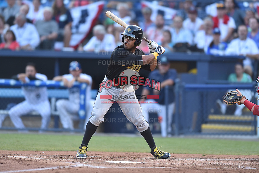 West Virginia Power center fielder Elvis Escobar (3) swings at a pitch during the South Atlantic League All Star Game on June 23, 2015 in Asheville, North Carolina. The North Division defeated the South 7-5(Tony Farlow/Four Seam Images)
