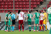 12th March 2020, Pireas, Greece; Europa League football, Olympiakos versus Wolves;   Olympiakos and Wolverhampton players discuss the decision with the referee as Borges Semedo is sent off