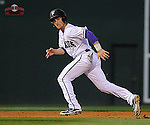 Outfielder Will Muzika (2) of the Furman Paladins takes off from second in the third inning in a game against the South Carolina Gamecocks on Wednesday, April 3, 2013, at Fluor Field at the West End in Greenville, South Carolina. Muzika scored on the play and Furman won, 6-5. (Tom Priddy/Four Seam Images)