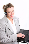 A business customer service woman on a computer