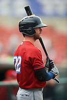 Columbus Clippers outfielder Tyler Naquin (22) on deck during a game against the Buffalo Bisons on July 19, 2015 at Coca-Cola Field in Buffalo, New York.  Buffalo defeated Columbus 4-3 in twelve innings.  (Mike Janes/Four Seam Images)