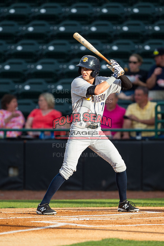 Tyler Wade (7) of the Charleston RiverDogs at bat against the Hickory Crawdads at L.P. Frans Stadium on June 2, 2014 in Hickory, North Carolina.  The Crawdads defeated the RiverDogs 9-6.  (Brian Westerholt/Four Seam Images)
